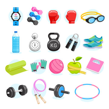 Set of Exercises equipment icons color. Vector Illustrations.