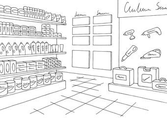 Hardware store graphic black white interior sketch illustration vector