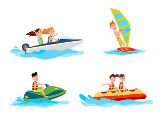 Sea Water Activities of Summer Vector Illustration