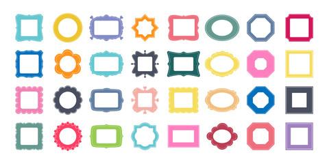Mega set of decorative photo frames for your design. Different shapes: square, rectangle, round, oval, star, flower, octagon. Vector illustration. Big pack of 32 design elements.