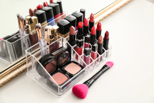 Set of cosmetic products on table
