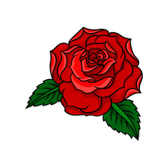Vector icon of beautiful bright red rose with two green leaves. Old-school tattoo design. Element for t-shirt print, postcard or invitation