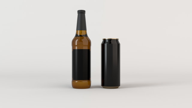 Mock up of beer bottle and can with blank label