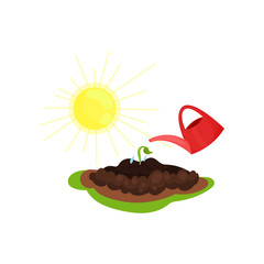 Flat vector icon of red watering can, young growing plant and bright yellow sun. Gardening and cultivation theme
