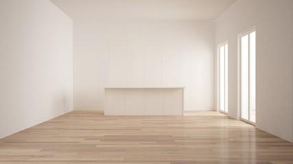 Minimalism, modern empty room with white hidden kitchen with island, parquet floor, white and wooden interior design