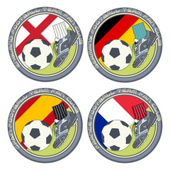 Soccer Fan Logo. Vector illustration of a color logo for football fans of teams from England, Germany, Spain and France.