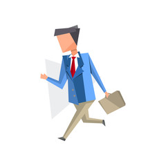 Businessman walking with briefcase cartoon vector Illustration on a white background