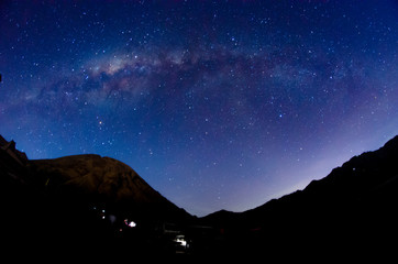 Bright Milky way and stars over mount Bromo volcanoes  in Bromo Tengger Semeru National Park, East Java, Indonesia
