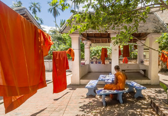 Young Buddhist monk studies next to orange cassocks stretched out in the sun to dry in Luang Prabang, Laos