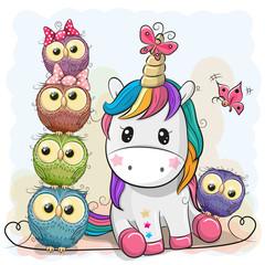 Cute Cartoon Unicorn and Owls