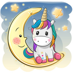 Cute Unicorn in a pilot hat is sitting on the moon