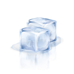 Two bluish-white ice cubes isolated on the white background. Vector illustration of two ice pieces. Making of cold drinks, alcoholic and non-alcoholic beverages, cocktails.