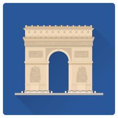 Triumphal Arch at Paris, France, flat design vector illustration