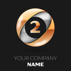 Realistic Golden Number Two logo symbol in the silver-golden colorful circle shape on black background. Vector template for your design