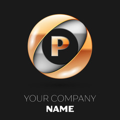 Realistic Golden Letter P logo symbol in the silver-golden colorful circle shape on black background. Vector template for your design