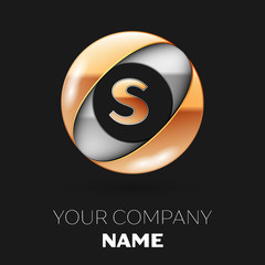 Realistic Golden Letter S logo symbol in the silver-golden colorful circle shape on black background. Vector template for your design