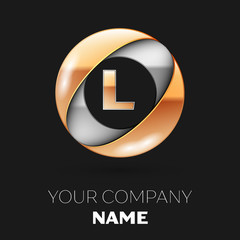 Realistic Golden Letter L logo symbol in the silver-golden colorful circle shape on black background. Vector template for your design