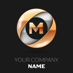 Realistic Golden Letter M logo symbol in the silver-golden colorful circle shape on black background. Vector template for your design