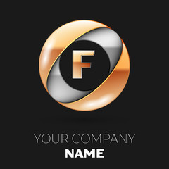 Realistic Golden Letter F logo symbol in the silver-golden colorful circle shape on black background. Vector template for your design