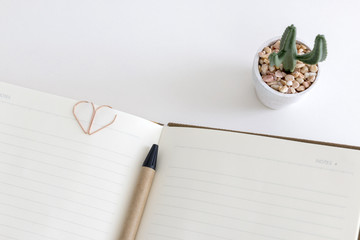 Top view of open blank notebook or diary with a pen ,heart shape binder clip and little cactus on white desk.