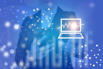 Multiple exposure of business concept by business woman is touching technology stock market system icon.