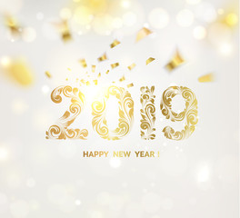 Happy new year card over gray background with golden confetti. Happy new year 2019. Holiday card. Template for your design. Vector illustration.