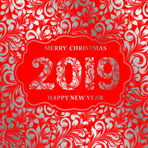 happy new year card with floral style pattern on red background and sign 2019 marry