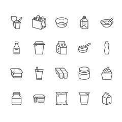 Yogurt packaging flat line icons. Dairy products - milk bottle, cream, kefir, cheese illustrations. Thin signs for food store. Pixel perfect 64x64. Editable Strokes.