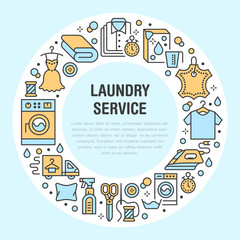 Dry cleaning, banner illustration with blue flat line icons. Laundry service equipment, washing machine, clothing leather repair garment steaming. Circle template thin colored signs launderette poster