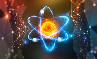 Atomic structure. Scientific breakthrough. Modern scientific research on nuclear fusion. Innovations in physics 3D illustration