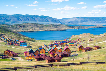 Foto op Canvas Asia land Beautiful views of the tourist centers and the Curkut Bay in August. Lake Baikal, Russia.