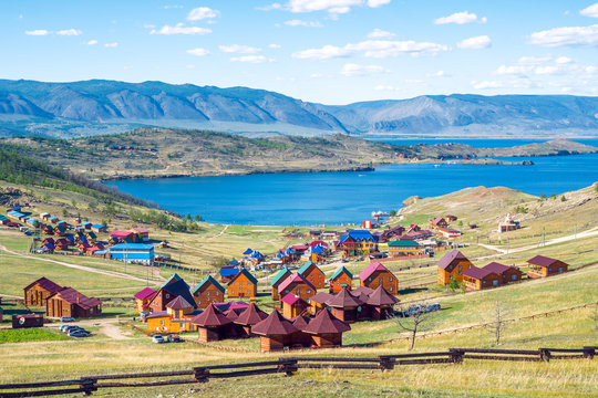 Beautiful views of the tourist centers and the Curkut Bay in August. Lake Baikal, Russia.