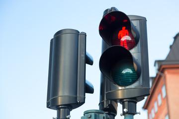 Traffic lights with the red light lit for pedestrians against the sky in Stockholm, Sweden Fotomurales