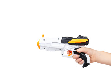 Futuristic toy gun with kid hand, isolated on white background. copy space template