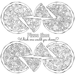 Group of vector illustrations on the pizza theme; several kinds of pizzas from different recipes.