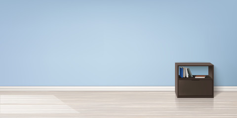 Vector realistic mockup of empty room with flat blue wall, wooden floor, brown stand with books in it. Studio with minimalistic interior. Template for your creative design and presentations