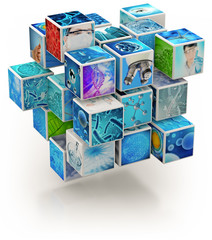 biology research photo collage cube-shaped isolated on white