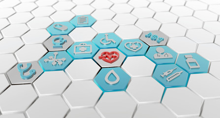 hexagonal pattern of medical icons, 3d illustration