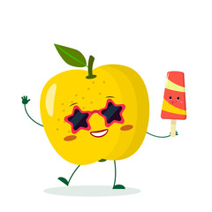 Cute yellow apple cartoon character in sunglasses star in the hands of a colorful ice cream.