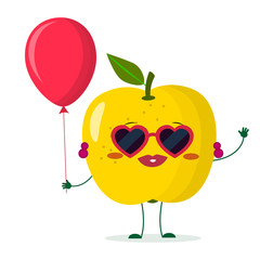 Cute yellow apple cartoon character sunglasses hearts, bow and earrings. Holds a red air balloon.