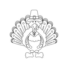 Turkey thanksgiving day coloring page