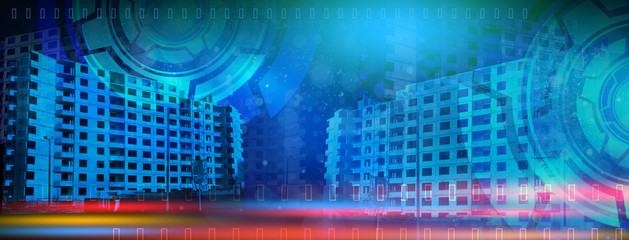 Construction abstract background. Additional reality, holographic display, neon, night view, banner