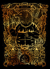 Gluttony. Latin word Gula means Obesity. Seven deadly sins concept on black background. Hand drawn engraved illustration, tattoo and t-shirt design, religious symbol