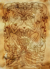Lust. Latin word Luxuria means sexual desire. Seven deadly sins concept on old paper background. Hand drawn engraved illustration, tattoo and t-shirt design, religious symbol