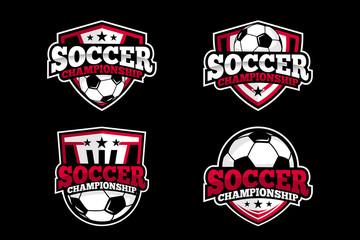 Set Soccer Football Logo Template Design Vector, Emblem, Design Concept, Creative Symbol, Icon