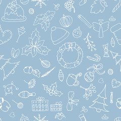 Christmas hand drawn pattern background.Festive, wrapping paper, vector illustrations.