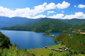Cadres-photo bureau Cote Lugu lake, lijiang, yunnan, China