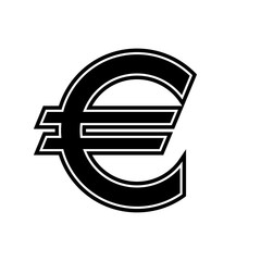 Euro icon black and white vector illustration