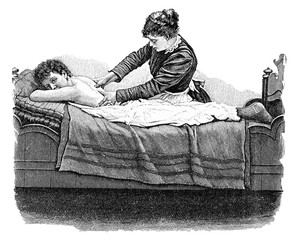 Rückenmassage.aus: Anna Fischer Dückelmann: Die Frau als Hausärztin, 2. Aufl., Stuttgart, .1907, S. 177, Fig. 123.
