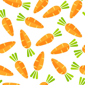 Flat vegetable seamless pattern. Retro style background ornament with abstract ordered carrot vegetables in bright orange colors. Vector illustration for wrapping paper or season celebration card.